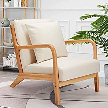 Esright Mid-Century Modern Accent Chair Fabric Arm Chair Retro Chair with Arm Upholstery Linen Living Room Furniture Beige