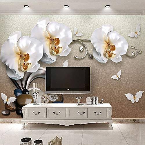 Alta calidad estéreo 3D joyería dorada mariposa orquídea papel tapiz de lujo Hotel sala de estar TV telón de fondo decoración de pared flor mural 3D-M