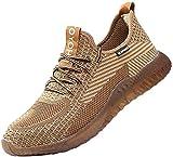 Zapatos de Seguridad para Hombres Zapatos de Acero con Punta de Seguridad,Zapatillas Deportivas Ligeras e Industriales Transpirables, 605 Marrón 42