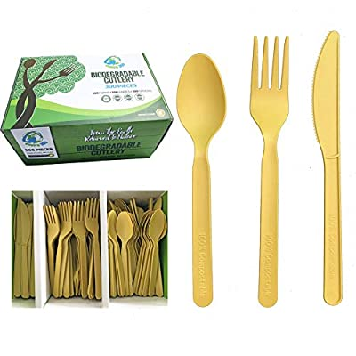 Biodegradable Compostable Cutlery Set 300 Pieces 100 Forks 100 Knives 100 Spoons Gold Sturdy Durable Heat Resistant 100% Plastic-Free (7 inches) by Enviro 360 (Gold)