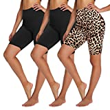 """YOLIX 3 Pack Buttery Soft Biker Shorts for Women – 8"""" High Waisted Yoga Workout Athletic Sports Shorts"""