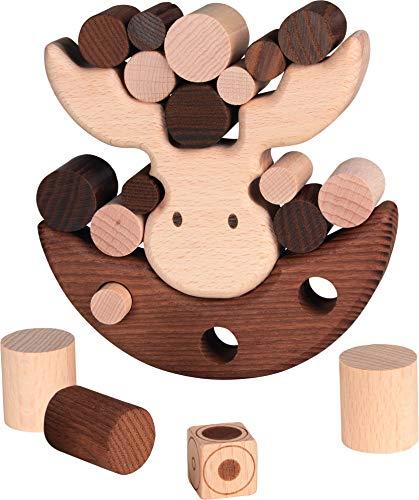 cama24com Balancierspiel Geschicklichkeitsspiel Elch aus Holz von goki Nature ökologisches Spielzeug mit Palandi® Sticker