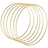 Sntieecr 6 Pack 12 Inch Large Metal Floral Hoop Wreath Macrame Gold Hoop Rings for DIY Wedding Wreath Decor, Dream Catcher and Macrame Wall Hanging Crafts