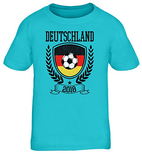 Germany Fußball WM Fanfest Gruppen Fan Kinder T-Shirt Rundhals Mädchen Jungen Pokal Deutschland 2018, Größe: 122/128,türkis