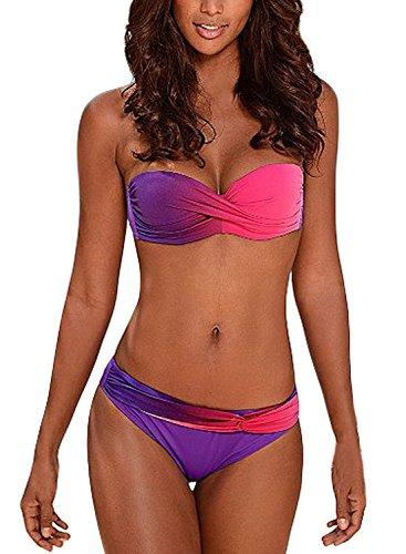 Aleumdr Sexy Costume da Bagno Donna Tie Dye Costume Donna Due Pezzi Bandeau Set Bikini Donna Push-Up Viola