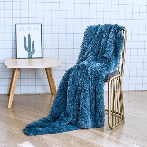 GONAAP Faux Fur Throw Blanket Decorative Super Soft Fuzzy Shaggy Luxurious Cozy Plush Fluffy Long Hair Comfy Microfiber Fleece Reversible for Coach Bed Chair Sofa Royalblue 50' 60'