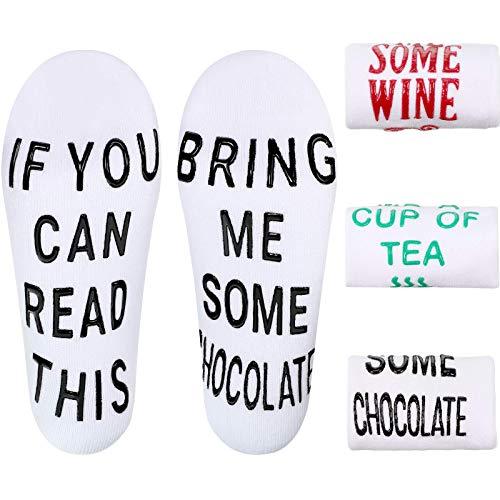 3 Paare Neuheit Socken für Frauen, If You Can Read This, Bring Me Some (Wine, Chocolate, Tea), Neuheit Baumwoll Socken für Valentinstag und Vier Jahreszeiten (Weiß)