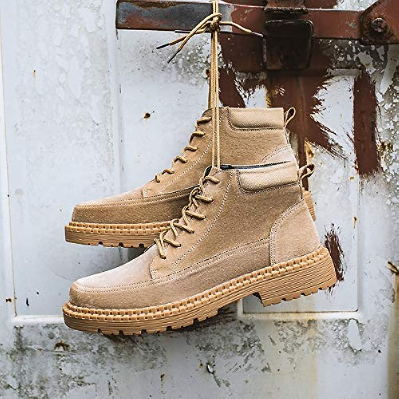 Shukun Men's boots Autumn Desert Men'S Boots High shoes Men'S White Wild Casual Tooling shoes Martin Boots Men'S Booties
