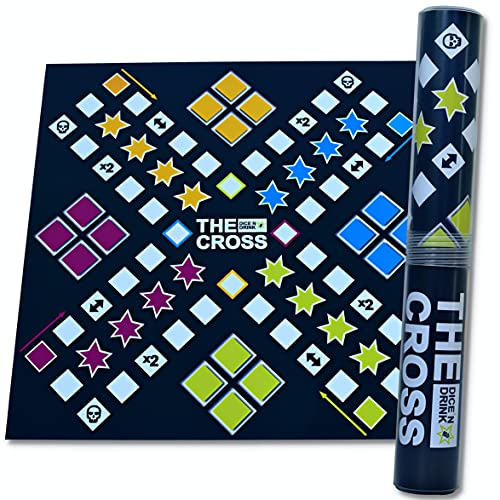 DICE \'N DRINK® - The Cross das Kreuz der Shots - Partyspiel fürs Festival - witziger Spieleabend - Würfelspiel - Partyspiel ab 18