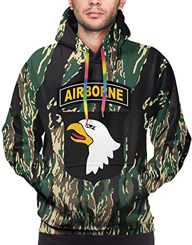 LX-UEX Army 101st Airborne Division Male Hoodie Sweatshirt Double-Sided Sweater Hoodies Big Pockets-XXX-Large-