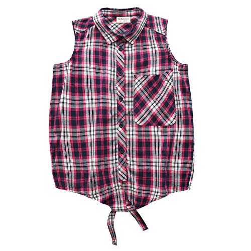 Big Girls Sleeveless Woven Plaid Button Down Shirts with Collar Red Black Navy Color (12 Years, Purple 7311)
