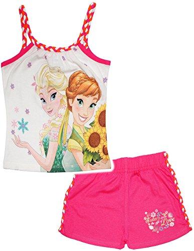 alles-meine.de GmbH 2 TLG. Set _ T-Shirt / Top & Kurze Hose -  Disney Frozen - die Eiskönigin  - Größe: 8 Jahre - Gr. 140 - als Sommerset / Strandbekleidung / kurzer Pyjama - M..