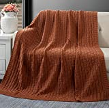 RUDONG M Brown Cotton Cable Knit Throw Blanket, Cozy Warm Knitted Couch Cover Blankets, 50 x 60 Inch