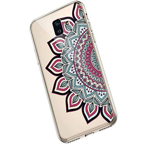 Saceebe Compatible avec Samsung Galaxy J6 Plus 2018 Coque Fleur Mandala Clair Design Motif Silicone Transparent TPU Souple Housse de Protection Ultra Mince Slim Léger Antichoc Étui,Fleur Rouge
