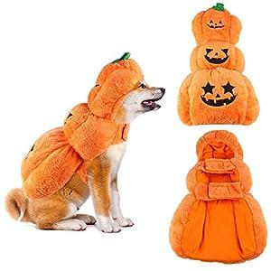 SymbolLife Citrouille Costume de Halloween pour Chien Manteau pour Chien Veste Sweat à Capuche Chaud Pull pour Chien Mélange de Coton Cadeau de Halloween