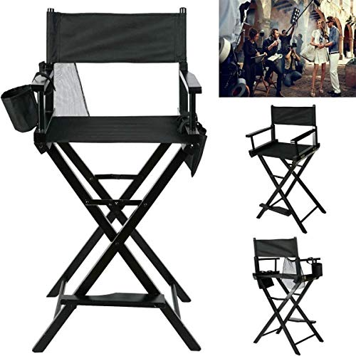 Kunyoxiu Heavy Duty Portable Folding Makeup Artist telescope Director Chair Premium Tall Saloon Chair With Side Bags