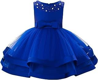 Baby Sleeveless O-Neck Pearl Decor Bow High Waist Double-Tulle Gown Princess Tutu Dress