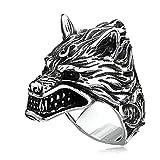 QLJYT Anillo con Cabeza de Lobo Vikingo, Anillos de Acero Inoxidable,11