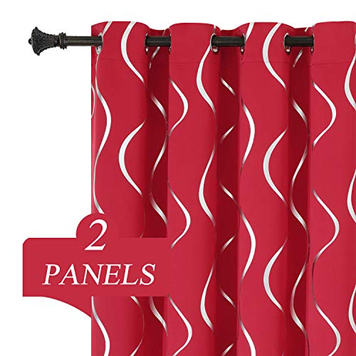 Estelar Textiler Thermal Insulated Window Curtains with Wave Line Pattern Designed Blackout Drapes Grommet Room Divider Curtains for Sliding Glass Door 52W x 84L Inch Red 2 Panels