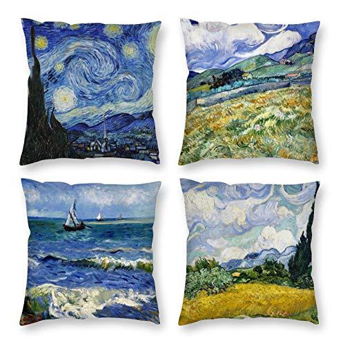 HOSTECCO Vincent Van Gogh - Set di 4 federe per cuscino con design astratto, 40 x 40 cm