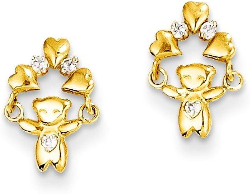 Solid 14k Yellow Gold CZ Cubic Zirconia Teddy Bear Post Studs Earrings - 11mm x 6mm