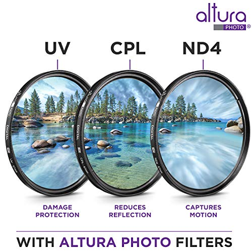 67MM Altura Photo UV CPL ND4 Professional Lens Filter Kit and Accessory Set for Canon, Nikon, Sigma and Tamron Lenses with a 67mm Filter Size
