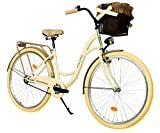Milord. 26 Zoll 3-Gang Creme Braun Komfort Fahrrad mit Korb Hollandrad Damenfahrrad Citybike Cityrad Retro Vintage
