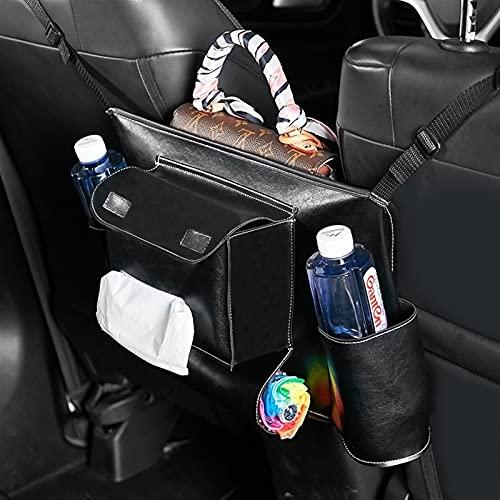 YCHCDR Autoaufbewahrungsbox Lederauto Armlehne Box Aufbewahrungstasche Organizer Tasche für Autositz Auto Vorderer Sitz mittlere Aufbewahrungstasche (Color : Updated Black White)