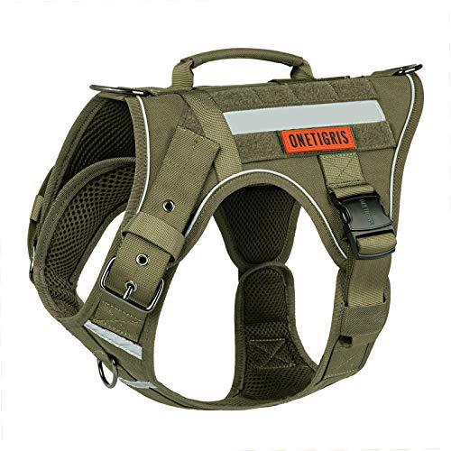 OneTigris K9 Hundegeschirr FIRE Tanker taktisches Hundegeschirr 3 Griffe Heavy Duty Hundeweste mit Metallschnallen (L, Ranger Grün)