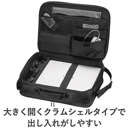『エレコム ビジネスバッグ キャリングバッグ A4対応 16.4インチ ワイド クラムシェルタイプ ブラック BM-SA04BK』の4枚目の画像