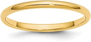 14k Yellow Gold 2mm Half Round Wedding Ring Band Size 10 Classic Fine Jewelry For Women Gifts For Her
