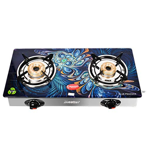 Master Imperio Designer Glass top Gas Stove | Toughened Glass 2 Burner | ISI Certified | 2 Years Warranty…(Door Step Service )