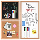 Magnetic Dry Erase White Board/Chalkboard/Cork Board, 3 in 1 Combination Board with Real Natural Wood Frame, 12' X 12' and 24' X 12'…