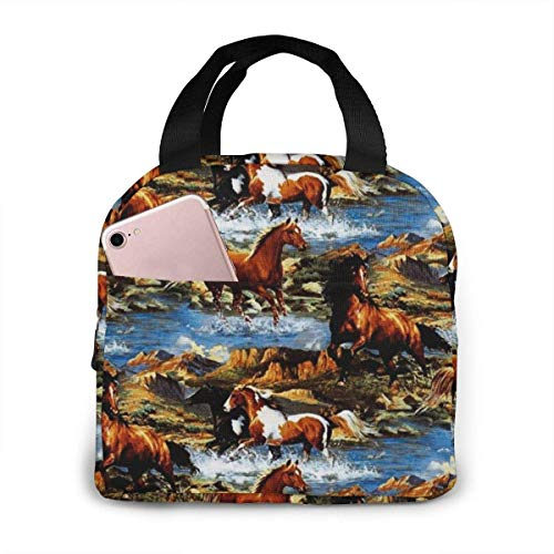 TTmom Horse Pattern Lunch Bag Reusable Insulated Cooler Tote Box with Front Pocket Zipper Closure for Woman Man Work Pinic Or Travel