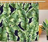 JgZATOA Cortina De Ducha De Hoja Verde Baño Cortina Impermeable Bañera Cortina Poliéster Baño Decoración Cortina con Ganchos180X200Cm