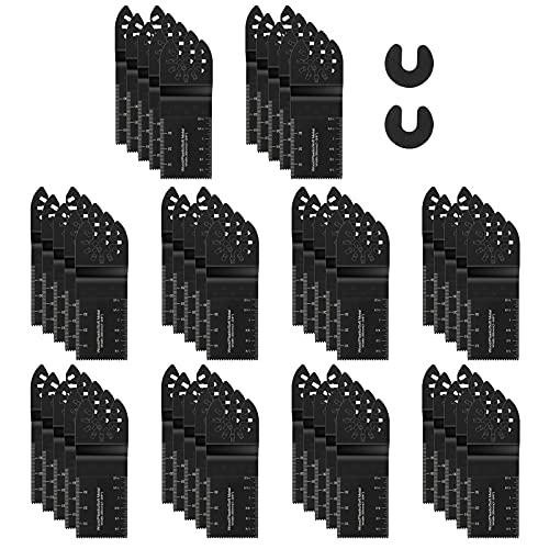 Housolution Herramienta Oscilante para Metal/Madera, [50pcs] 34mm Hojas de Sierra Oscilante de Acero con Alto Contenido de Carbono, Herramienta de Corte Profesional Ideal Para Cortar Madera, Negro