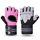 WESTWOOD FOX WFX Weight Lifting Gloves for Men Women Gym Gloves with Wrist Wrap Support for Workout Exercise Fitness Training, Hanging, Pull ups, Suit for Dumbbell, Cycling (Medium, Pink)