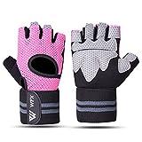 Westwood Fox WFX Guanti per sollevamento pesi da uomo e donna con supporto per fascia da polso per allenamento allenamento guanti fitness da appendere e tirare, adatti per manubri e ciclismo (S, rosa)