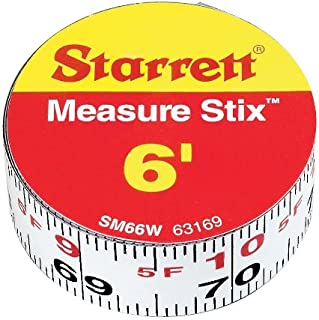 Starrett Measure Stix SM66W Steel White Measure Tape with Adhesive Backing, English Graduation Style, Left to Right Reading, 6' Length, 0.75