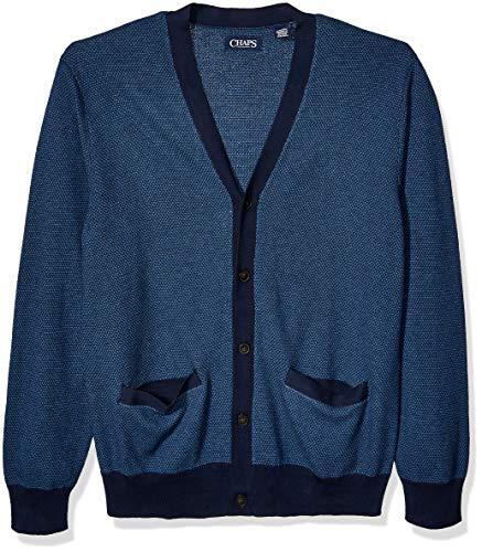 Chaps Men's Soft Cotton Cardigan Sweater, Newport Navy Multi, XL