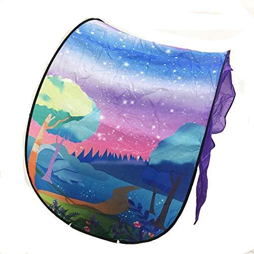 Cama Niños Mosquitera Estrellada Dream Bed Tienda de los niños Plegable de Bloqueo de luz Cama Tienda de campaña Cubierta sueño decoración de Interiores-Luz (Color : Forest)