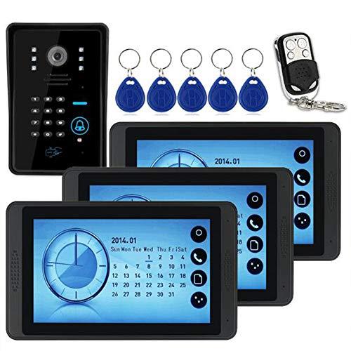 RUI Doorbell@ 7' Timbre Intercomunicador Video Portero (700TVL Cámara de Vigilancia, 3 Monitor, 5 Modos, 5 Tarjeta ID, Controlador Remoto, Visión Nocturna) - Lente: 3,6 mm