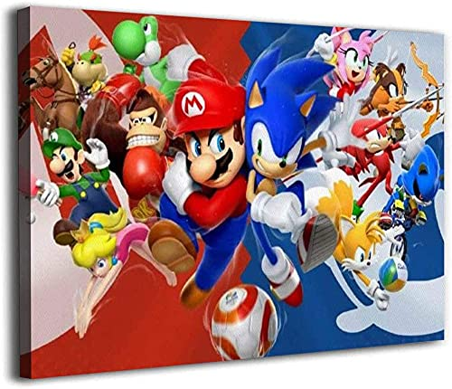 AMCYT 1art1 - Póster de Super Mario Sonic The Hedgehog (20 x 30 cm, con marco, 50 x 75 cm)