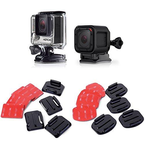 micros2u 3M VHB Doppelseitige Klebepads. 4 x flaches & 4 x gebogenes Kit-Bundle. Kompatibel mit GoPro HERO 9 8 7 6 5 4 3, Session, OSMO, Apeman und anderen Action-Kameras