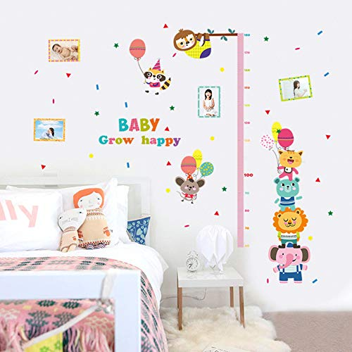 Happy Animal Baby Grow Hoogte Stickers Cartoon Dier Carnaval Ballon Foto Frame Decor Kids Kamer Hoogte Meet Muur Stickers