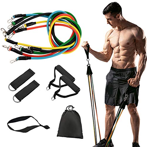 11 Pack Resistance Bands Set,Including 5 Stackable Exercise Bands with Door Anchor,2 Foam Handle,2 Metal Foot Ring & Carrying Case - Home Workouts,Physical Therapy,Gym Training,Yoga