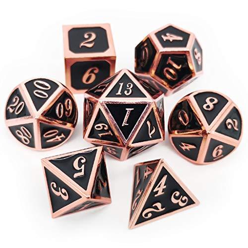 Haxtec 7PCS Metal Dice Copper Black D&D Dice Set for Dungeons and Dragons Games-Glossy Enamel Dice (Copper Black)