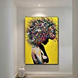 Geiqianjiumai Moderne Graffiti Wall Art fotolijst op Canvas Abstract Pop Art meisje aquarel frameloze schilderij 40x50cm