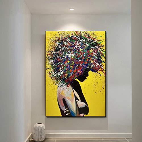 Moderne graffiti kunst aan de muur fotolijst op canvas abstract pop art meisje aquarel schilderij frameloze schilderij 50x70cm