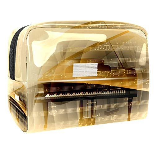 Bolso de Organizador Maquillaje en Viaje Música de Piano Vintage Bolsa Cosmetica Bolsa de Neceser con Gran Capacidad Almacenamiento de Maquillaje Cosmético Neceseres de Viaje 18.5x7.5x13cm